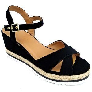 New Black Platform Espadrille Wedge Sandals